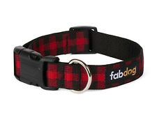 Red Buffalo Plaid dog collar -  Small
