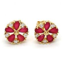 Brand New Stud Earrings~14K Gold Filled~Flower Style~Ruby & White Sapphires~MIB