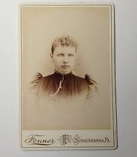 Cabinet Card Antique Photo Susquehanna PA Fenner Young Woman with Pincurls