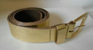 Gold Metallic Ladies Belt Gilt Buckle. Genuine Hide. Large Only. Made in England