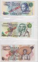 BN2) Ghana 1978 set of 4 Uncirculated SPECIMEN Banknotes 1 Cedi – 20 Cedis