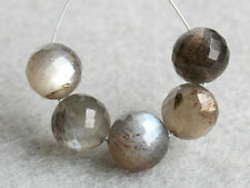 Natural Gray Moonstone Faceted Round Ball Gemstone Beads (27095)