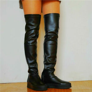 Punk Women Over Knee Thigh High Sneaker Boots Pull On Round Toe Flat Oxfords New