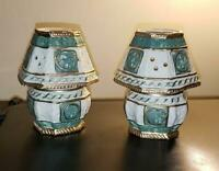 "Vintage Pair of Glass Porcelain Tea Light Candle Holders 5"" tall"