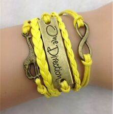 New Infinity Giraffe One Direction Bronze Charm Yellow Leather Bracelet - Gift
