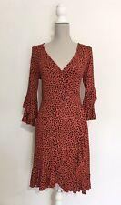 Red Animal Print Spanish Style Wrap Dress Size 12 By Envy Dance Ruffle Black