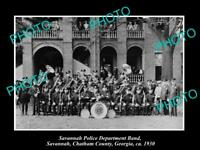 OLD POSTCARD SIZE PHOTO OF SAVANNAH GEORGIA THE POLICE DEPARTMENT BAND c1930