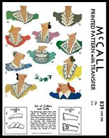 McCALL Pattern # 839 10 Collar Jabot and Cuffs Fabric Sewing Patterns Vintage