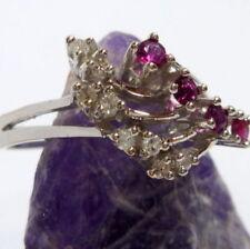 Anillos de joyería con diamantes brillantes de oro blanco rubí