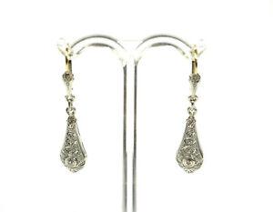hübsche, alte Ohrhänger - Art Déco - kl. Diamanten - um 1920/30 - Silber + Gold