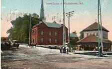 Street Scene Wagons & RR Station At Westminster MD Maryland 1913 Postcard !!!