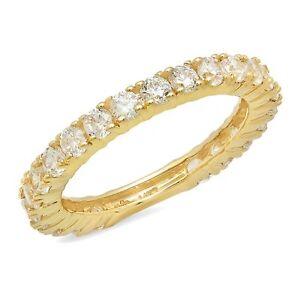 1.1ct Round Cut Eternity Bridal Wedding Anniversary Band Solid 14k Yellow Gold