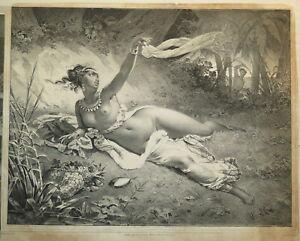 N. MAURIN (1799-1850) LITHO ORIGINALE FEMME NOIRE NUE AFRIQUE ANTILLES 1830