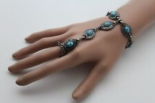 Women Antique Silver Bracelet Metal Hand Chain Slave Ring Turquoise Blue Jewelry
