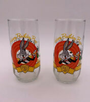 Happy Birthday Bugs Bunny Glass 50th Anniversary  Looney Tunes Set Of 2 Glasses