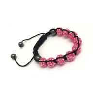 bracelet réglable shamballa rose 10 mm 9 boules disco perles bracelet en cristal