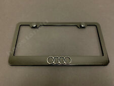 1x 4 RING LOGO 3D Emblem BLACK Stainless License Plate Frame RUST FREE +S.Caps