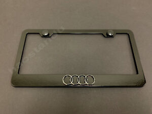 1x 4 RING LOGO 3D Emblem BLACK Stainless License Plate Frame RUST FREE +S.Caps