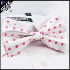 White with Pink Polkadots Bow Tie Men's Bowtie Mens