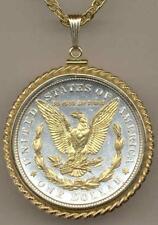 J&J JEWELRY Detailed Gold & Silver Morgan Dollar (Reverse) in Rope Bezel