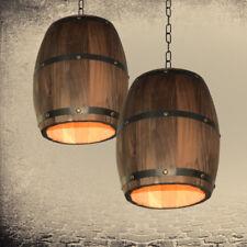 Country Style Wooden Wine Barrel Single Light Vintage Ceiling Pendant Lights Art