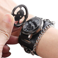Black Punk Rock Chain Skull Leather Watch Women Men Bracelet Cuff Gothic WatchCO
