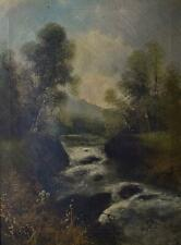 A Mountain Stream into a Lake Antique Oil Painting G(Geo) Walton c18901900/10