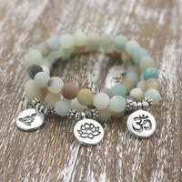 Eg _ Buddha Lotus Herren Damen Armband Perlenbesetzt Armreif Schmuck Geschenk