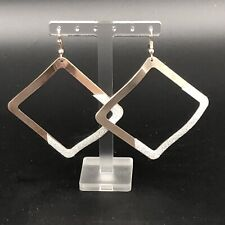 Fashion Statement Copper Plated Sparkling Glitter Square Dangling Earrings