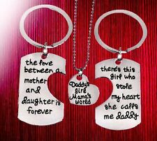 Mum daddy daughter gifts for Christmas trio parts engraved unusual gift 3 set