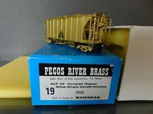 Pecos River Brass #2602 ACF 34' Covered Hopper Open Sides Single Handle Hatches