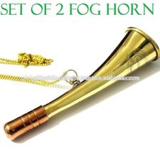 Lot of 2 Nautical Brass and Copper Trendy Look Fog Horn with Brass chain