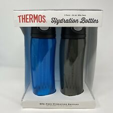 Thermos Hydration Bottles 2 Pack Blue and Grey 24 oz New