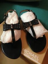 MICHAEL KORS DEVIN THONG SANDAL BLACK WITH BOW - SIZE 8M