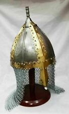 Medieval antique Armor helmet made from Old Metal sheet with chain-mail