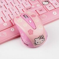 2.4G Wireless Hello Kitty Pink Gaming Computer Mouse USB Receiver Optical Mouse