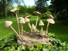 Wooden Mushroom Carving - Mushrooms Toadstools on Teak Wood