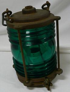 Vintage PERKO Nautical Brass Green Maritime Lantern