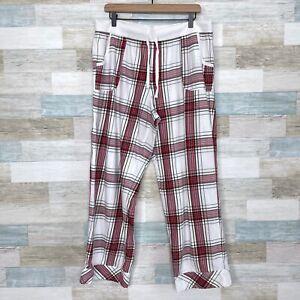 Victorias Secret Flannel Pajama Pants White Red Silver Plaid Sleep PJs Womens XL