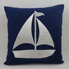 "Nautical Embroidered Pillow Cover -Sailboat - 18"" x 18""- Navy - Beach Decor"