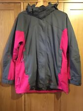 Mountainlife Extreme Hooded Waterproof Grey Pink Woman's Coat Jacket Size 16