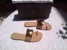 NEW Giuseppe Zanotti Sandals 37.5/7.5 Beige Leather & Gold Hardware MadeIn Italy