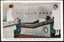 WAUKESHA WI Moor Mud Baths Private Ladies Room Vtg Postcard Early Wisconsin PC