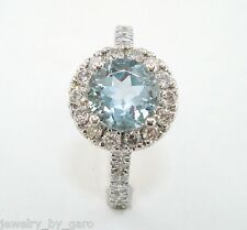 PLATINUM AQUAMARINE AND DIAMOND COCKTAIL RING 1.56 CARAT HANDMADE HALO