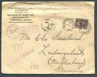 "CANADA ""ADMIRAL"" FOREIGN DESTINATION REGISTERED COVER TO LUDWIGSLUST, GERMANY"