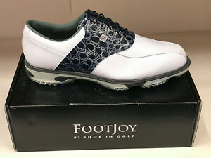 NEW FootJoy DRYJOYS TOUR 53680 White/Navy Croc Men's Golf Shoes 13M Were $220