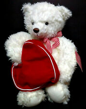 """2003  HALLMARK from my heart white bear heart opens to tuck /hide something  14"""""""