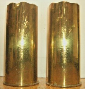 1915 & 1917 WW1 German shell cases engraved and shaped as souvenir vases