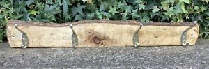 HAND MADE RUSTIC WOODEN WALL COAT HOOKS RACK ~ SHABBY CHIC