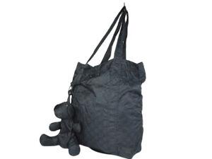 GUCCI Nylon Canvas Black Shopper Bag with Bear GT2612